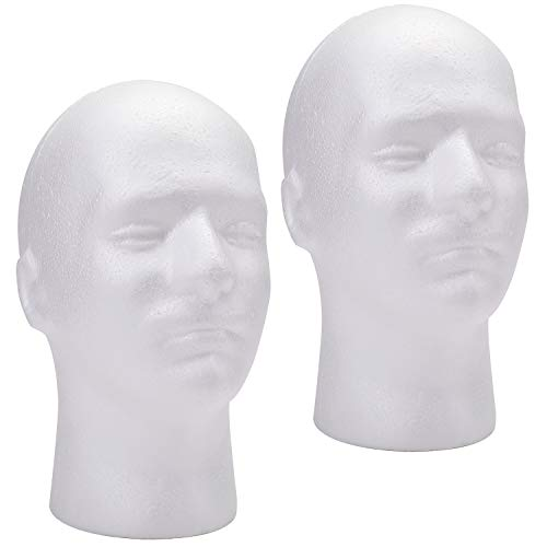 Foraineam 2 Pack Male Styrofoam Head 11 Inch Man Mannequin Manikin Foam Heads Wig Holder Hats Glasses Display Stand
