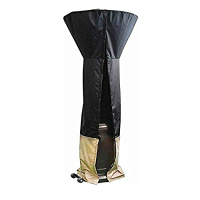 """ZLjoint 600D Heavy Duty Waterproof Standup Patio Heater Cover, Heater Cover for Outdoor with Zipper, 34""""x18.5""""x95"""", Black"""