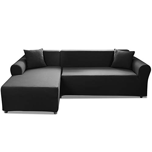 CAVEEN Housse de Canapé d'angle Extensible, Couverture de Canapé en Forme de L avec 2 Taies d'oreiller, Revêtement de Canapé en Tissu élastique (3 Places + 3 Places, Noir)