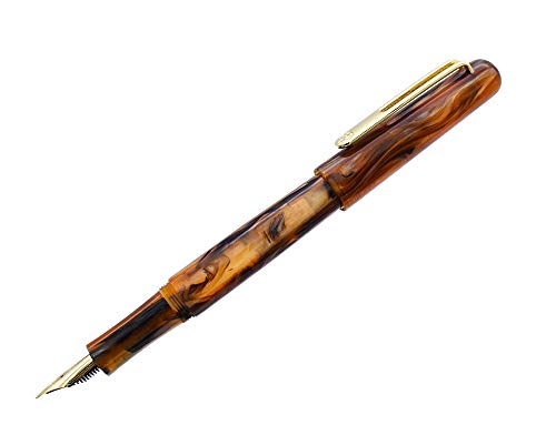 Picasso EtSandy Aurora 975 Füllfederhalter,F Nib Celluloid Vintage Kugelschreiber, Kalligraphiestift mit Tintennachfüll-Konverter, Executive-Stift für Geschäftsunterschrift Kollektion (Gelb)