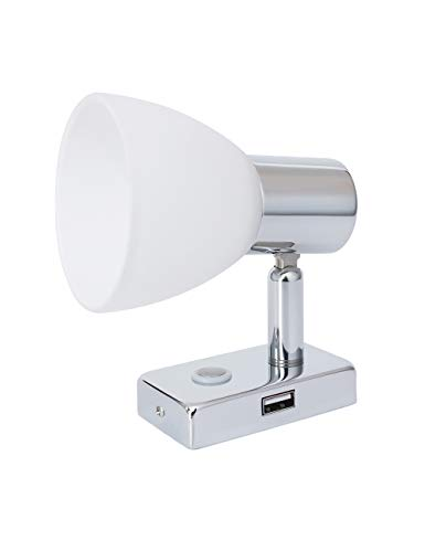 lighteu, 12V 3W D1 USB Decken- / Wandstrahler, Chrom-Finish, Nachttischlampe, Leselampe mit Touch-Schalter dimmbar warmweiß/blaues Licht für Yacht, Caravan, RV
