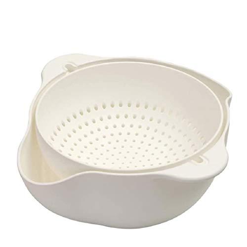 GPPZM Colander Fruit and Vegetable Strainer,Stackable Soaking Bowl and Colander Set,White (Size : L)