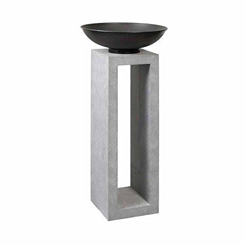 OUTLIV. Feuerschale auf Säule 50x50x105cm Clayfibre, Feuersäule für den Garten, Feuerschale auf Säule, Design Gartendeko, Metall/Clayfibre-Leichtbeton Zement-Grau