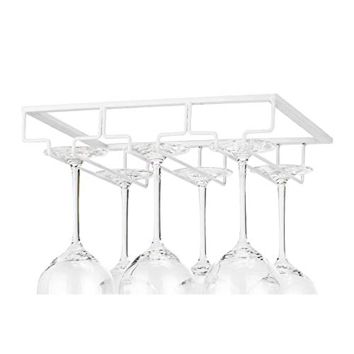 sun gurg Weinglashalter, Gläserhalter Edelstahl zum Aufhängen Glashalter Weinregale Weinglashalterung mit Schrauben 3 Reihen Gläserhalterung für Bar Küche Café (Weiß)