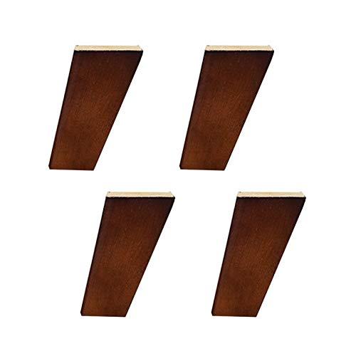 4 Patas de Armario de Madera Pies de Muebles Cuadrados Oblicuos Pies de Repuesto Pata de la Mesa Pies de Sofá,Con Placa de Montaje y Tornillos(Walnut12cm)