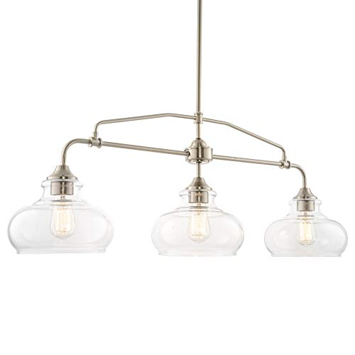"""Kira Home Harlow 37.5"""" Modern Industrial Farmhouse/Schoolhouse 3-Light Island Light with Clear Glass Shades, Adjustable Hanging Height, Brushed Nickel Finish"""