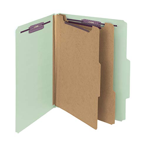 Smead Pressboard Classification File Folder with SafeSHIELD Fasteners, 2 Dividers, 2' Expansion, Letter Size, Gray/Green, 10 per Box (14076)