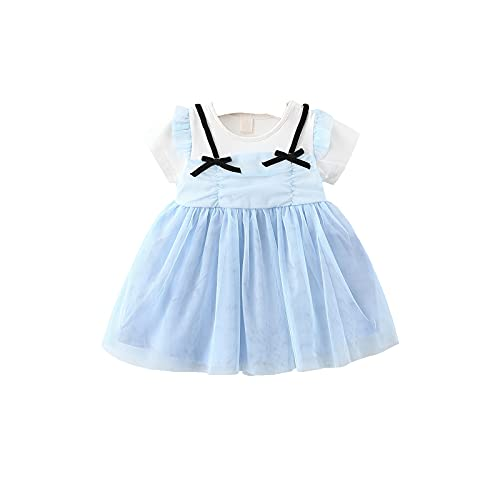 SH-RuiDu Vestido de verano para niña pequeña, manga corta, cuello redondo, vestido de columpio