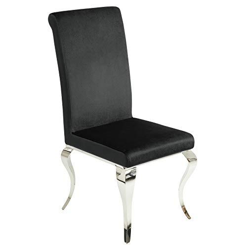 Invicta Interior Eleganter Stuhl MODERN BAROCK schwarz Stuhlbeine aus Edelstahl mit Negro Samt Lehnstuhl Esszimmerstuhl