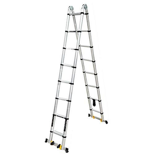Scala Alta Alluminio Folding Extension Ladder, Alluminio telescopica Estensione A-Cornice di Scala, Multi-Use Scala telescopica con Barra di Supporto, 440 LB carico (Taglia : 8 Steps+8 Steps)
