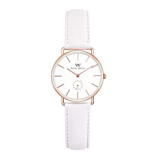 Welly Merck Damen Analog Uhren Schweizer Quarzwerk Mit Weiß Leder Armbänder W-C24L17