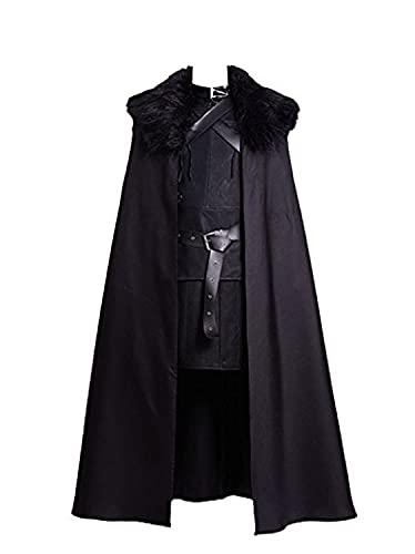 Fuman Jon Snow Costume de cosplay avec cape complète pour Halloween, carnaval, Noël, noir