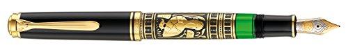 Pelikan 924738 Kolbenfüllhalter Toledo M 900 mit Bicolor-goldfeder 18-K/750 Federbreite M, 1 Stück, schwarz