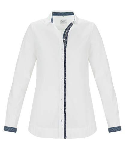 by Mi Hamburg Elegante Damenbluse Windsor  Weiß mit blauem Zierband   Modisch & Elegant   Langarm-Bluse aus Baumwolle   Nachhaltig produziert in Europa (38)