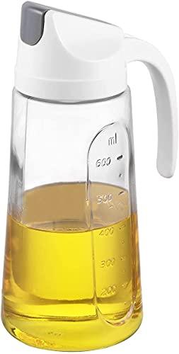 Veelink Aceitera Auto Flip Botella de cristal de aceite de oliva a prueba de fugas con tapa automática, color beige, 750 ml