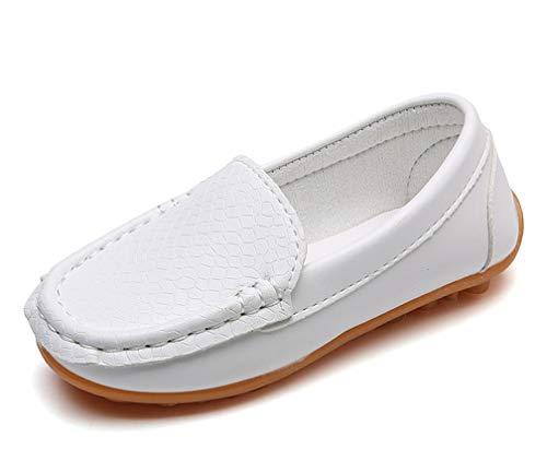 Amitafo Mocasines de Cuero para Niños Moda Casual Zapatos del Barco Chicos Chicas Linda Comodidad Loafers Antideslizante Zapatos para Caminar/Blanco 34 EU=Etiqueta: 35