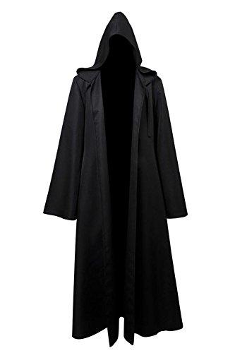 Fuman Jedi Robe Deluxe Cosplay Kostüm Umhang mit Kapuze Schwarz M