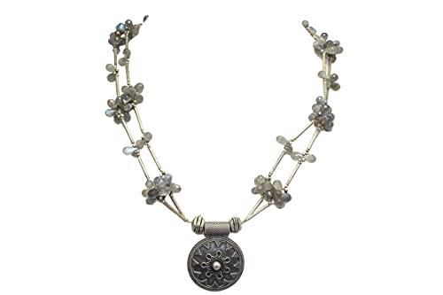 PH tradicional collar 925 plata esterlina perlas gris labradorita piedra P 382