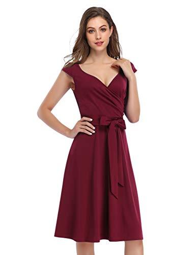 KOJOOIN Damen Vintage 50er V-Ausschnitt Abendkleid Rockabilly Retro Kleider Hepburn Stil Cocktailkleid Weinrot S