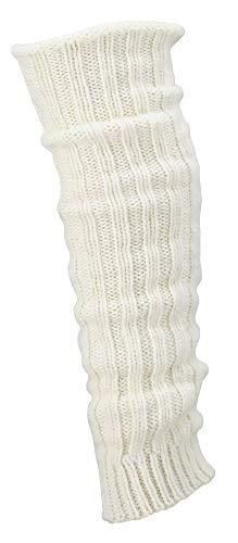 krautwear® Damen Mädchen 1 Paar Beinwärmer Stulpen Legwarmers Grobstrickstulpen mit Alpakawolle Alpaka Flauschig ca. 40cm 80er Schwarz Weiß Grau Beige (wollweiss)