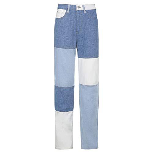 GuliriFe Vaqueros de mujer con estampado de patchwork, cintura alta, pernera ancha, pantalones vaqueros Y2K, tubo recto, color Azul, talla Small