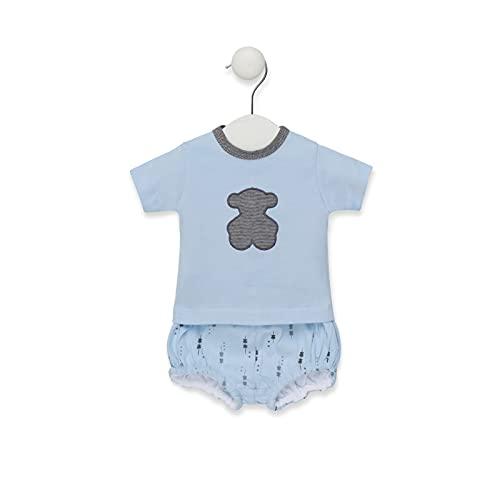 TOUS BABY - Conjunto 2 Piezas para tu Bebé. Camiseta y pololo Estampado Luminary. (Celeste, 3-6 Meses)