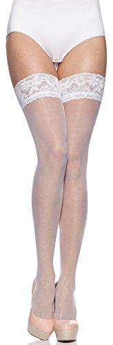 Merry Style Damen halterlose Strmpfe plus size MS 164 15 DEN (Wei, XL-XXL (46-54))