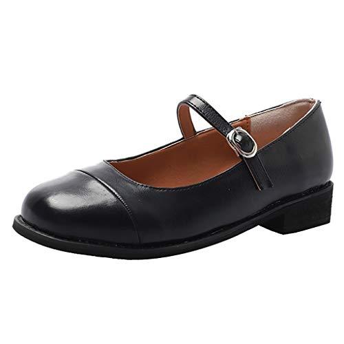 Makefortune - Damen Mädchen Schwarz PU Leder Flache Mary Jane Dolly Pumps Büroarbeit Schule Schuhe Größe 3-7 UK