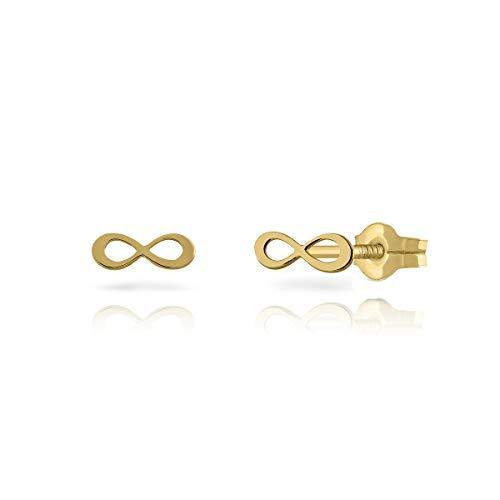 Pendientes oro de 18k certificado, niña/mujer infinito infiniti pulido. Medida de la joya 9 o 7 milímetros. Con cierre de presión o de rosca de seguridad. (7 mm - presión)