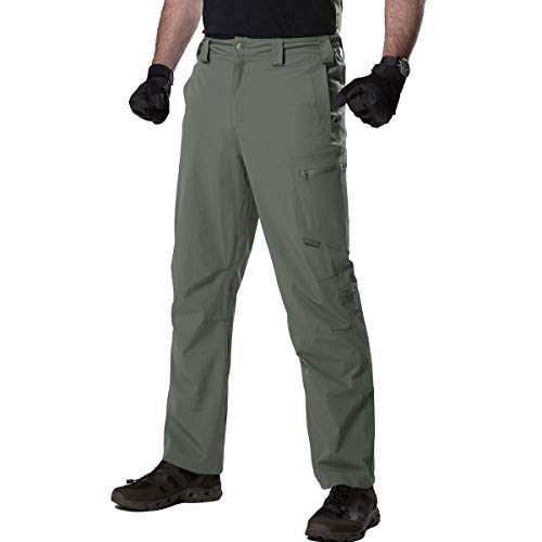 FREE SOLDIER Men's Waterproof Ripstop Tactical Military Cargo Pants Quick Dry Hiking Work Pants with Pockets (Olive Green,32W/30L)