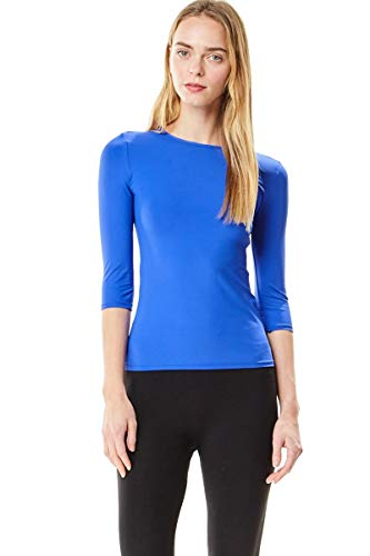 Chi-Chi NYC Women?s Fitted Microfiber 3/4 Sleeve Shell Top Style CCMS, Blue, X-Small