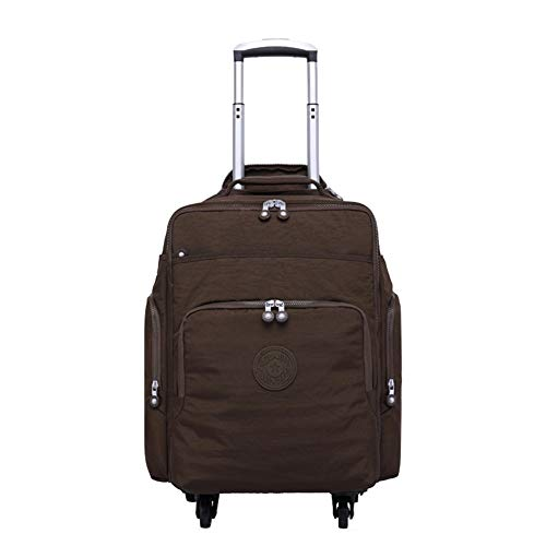 Adlereyire Trolley Bag 20 Liters,Lightweight and Waterproof Roller Bag Holdall with Wheels Functional Cabin Luggage Bag for Laptops up to 16' (Color : Brown, Size : 34 * 13 * 48cm)