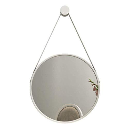 ZHAOJYZ Household Necessities/spiegel rond wandspiegel Nordic wit zwart spiegel eenvoudig decoratief metalen frame badkamer Family Art spiegel rond