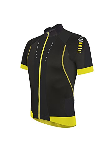 zerorh+ Maglietta Ciclismo Uomo Phantom, Nero (Black/Acid Yellow), XL