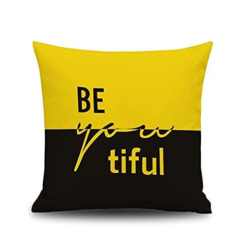 KnBoB Funda Cojin Cuadrado Negro Amarillo BE You Tiful Beautiful 40x40 cm Tejido con Lino Decoración Interiores - Estilo 3