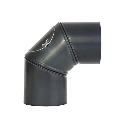 Kamino - Flam - Codo con puerta para chimenea o estufas de leña (Ø 120 mm/ángulo 90°C) Codo vitrificado, Codo de escape - resistente a altas temperaturas - gris