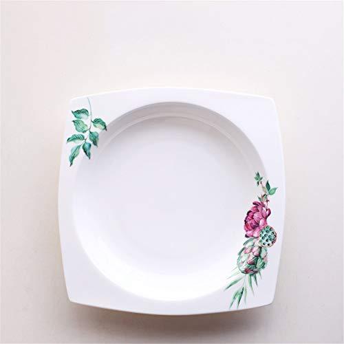 YUWANW Plaque de restaurant assiette de vaisselle assiette plate assiette de service assiette carrée en céramique - A1