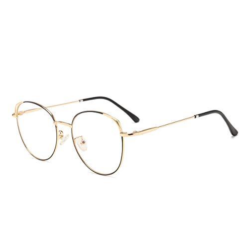 Blaulichtfilter Brille Anti Blaulicht Brille Computerbrille Katzenauge ohne sehstärke Metallgestell Brille Pc Gaming Bluelight Filter Uv Blockieren Blaue Licht Glasses Damen Schwarz und Gold Rahmen
