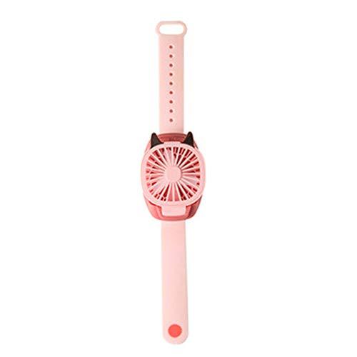 youwu Mini ventilador portátil de reloj USB Ventilador de refrigeración de aire extraíble Ventilador de escritorio con luces coloridas para estudiantes regalos para el hogar (color: rosa)
