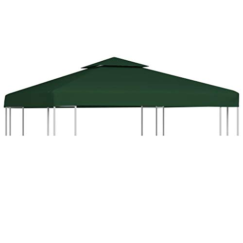 GOTOTOP Replacement Gazebo Cover 3 x 3 m Top Cover for Gazebo,Waterproof Cover Replacement for Gazebo 310 g/m² (Not Includes Gazebo Frame)- (Green)
