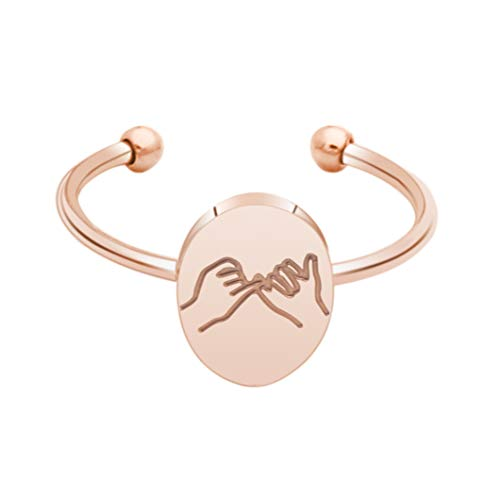 Meibai Bestie Gift Pinky Swear Adjustable Ring for Best Friend Hand Gestures Pinky Promise Stacking Ring Sisters Bff Gift (Rose Gold)