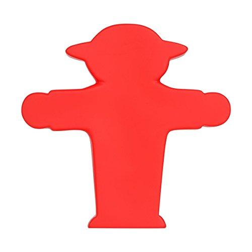 AMPELMANN Kleiner Lampenmann | Dekorationsleuchte mit LED | 12 x 12 x 3 cm Plastik in Rot mit Steher batteriebetrieben 3 x LR44