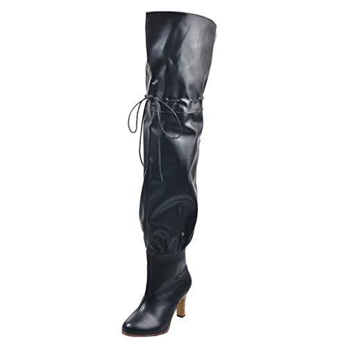 Stiefel Damen Krissy Frauen Spitzschuh High Heel Stilettos Stiefel mit hohem Schaft Kniehohe Absatz Fashion Schnürstiefel mit breiter Wade Langschaftstiefel Overknee Stiefel Winterschuhe