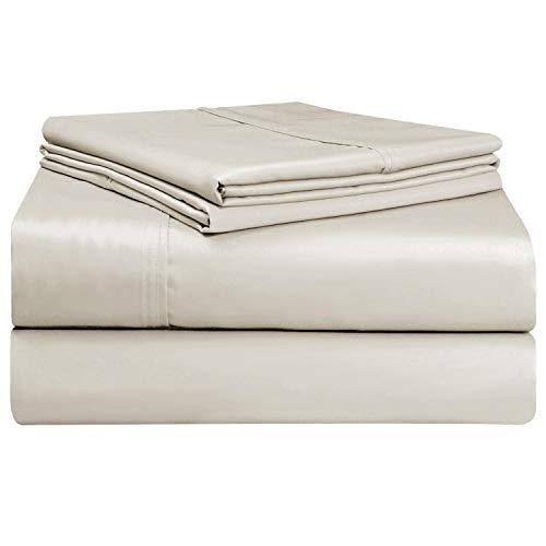 Set Lenzuola in cotone 400 fili matrimoniale Beige, 100% cotone a pinzatura lunga, lenzuola in...