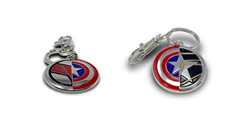 The Falcon, The Winter Soldier & Captain America Shield Combo Pack Keychain - Official Marvel Disney, 2 x Keychains