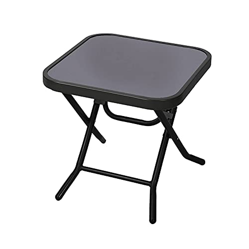 Janoon Folding Drinks Side Table Garden Patio Outdoor Coffee Table Black by Crystals® (Square Table)
