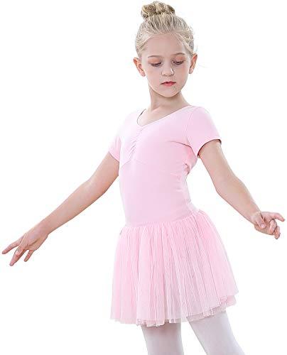 tanzdunsje Vestido de Ballet Maillot de Danza para niñas Traje de Ballet de Leotardo gimnástico de Manga Corta con Falda de tutú