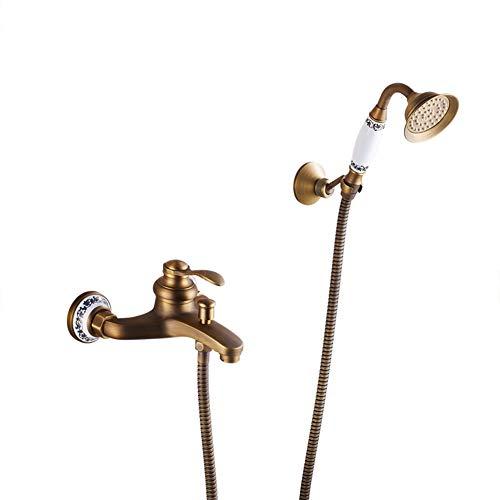 Badewannenarmatur - Wannenbatterie, Wand-Duscharmatur Mit Handbrause, Bronze Retro Messing Wannenarmatur, Mit Keramikkartusche - Wandhalterung, Aufputz Einhebel Wannenmischer - Dusche Set