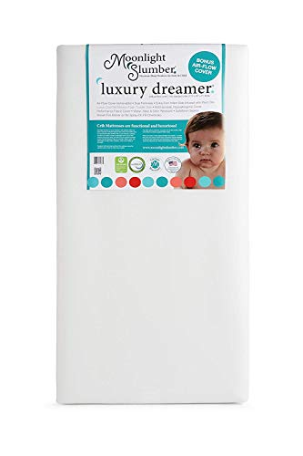 Moonlight Slumber Luxury Dreamer Crib Mattress with Dual Surfaces: Airflow Sleep Surface on Firm Infant Side, Cooling Memory Foam on Toddler Side. Lightweight, Waterproof, Hypoallergenic. Made in USA