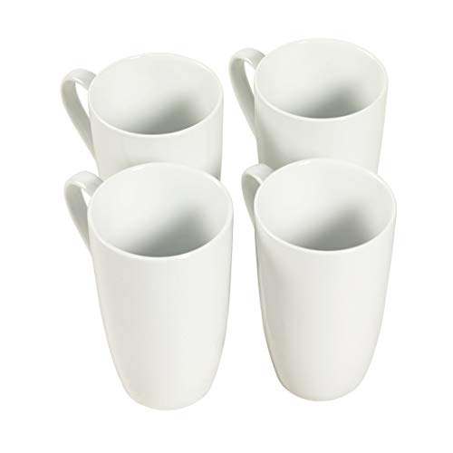 Denmark White Catering 4 Pack Dinnerware Sets- Parties, Weddings, Holiday, 4 Pack Tall 20 Ounce Latte Mug